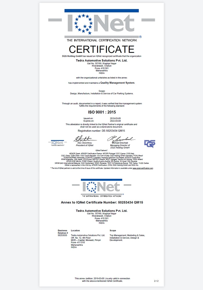 ISO Certificate IQNET